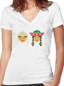 a quechua boy and girl Women's Fitted V-Neck T-Shirt