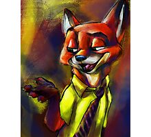 """It's Called A Hustle, Sweetheart!"" (Nick Wilde Zootopia Painted Portrait) Photographic Print"