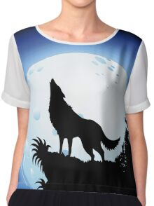 Wolf Howling at Blue Moon Chiffon Top
