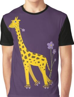Purple Cartoon Funny Giraffe Roller Skating Graphic T-Shirt