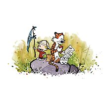 Calvin And Hobbes mapping Photographic Print