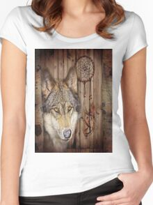 western country native dream catcher wolf art Women's Fitted Scoop T-Shirt