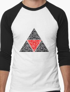 4 triangles form microchip technology cool design pattern Men's Baseball ¾ T-Shirt