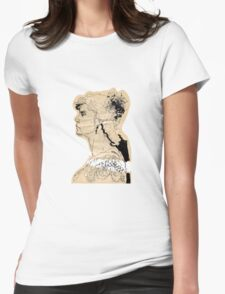 Vintage girl ink drawing on craft paper Womens Fitted T-Shirt