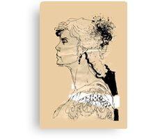 Vintage girl ink drawing on craft paper Canvas Print