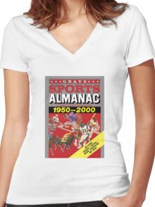 Grays Sports Almanac Complete Sports Statistics 1950-2000 Women's Fitted V-Neck T-Shirt