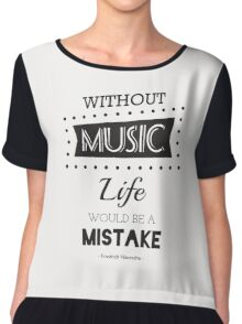 Music Quotes Typography Chiffon Top