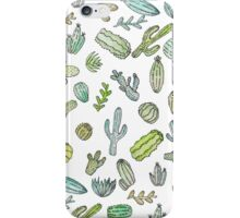 Cute Green Watercolor Paint Summer Cactus Pattern iPhone Case/Skin