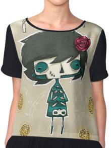 EMO- Candles and Roses Chiffon Top