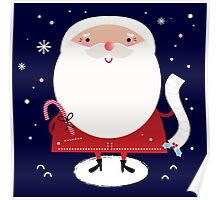 Cute Santa with note Vector cartoon Poster