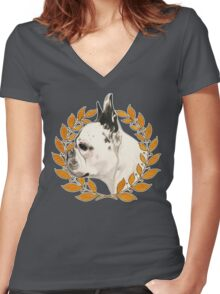 French Bulldog - @french_alice Women's Fitted V-Neck T-Shirt