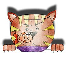 Purrnickerty the Cat - Fishbowl Photographic Print