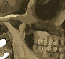 Skull of a Skeleton with Burning Cigarette Sticker