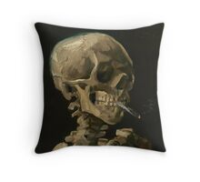 Skull of a Skeleton with Burning Cigarette Throw Pillow