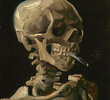 Skull of a Skeleton with Burning Cigarette by warishellstore