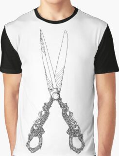 Vintage scissors black and white lineart Graphic T-Shirt