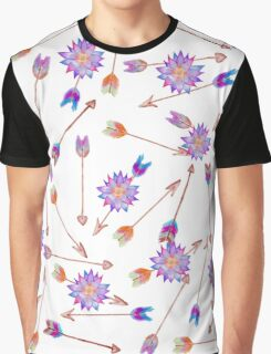 Boho Watercolor Hand Painted Flower and Arrows Graphic T-Shirt