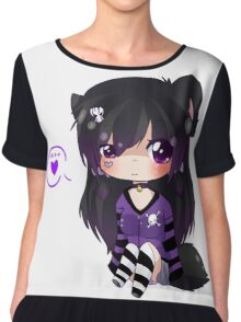 EMO- Kitty Cat Tail Chiffon Top