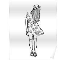 BW Hipster Girl Poster