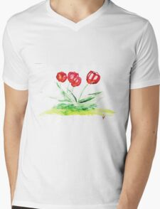 Tulips in watercolor Mens V-Neck T-Shirt