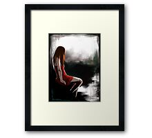 EMO- Depressed Girl In Red Skirt Framed Print