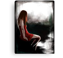 EMO- Depressed Girl In Red Skirt Canvas Print
