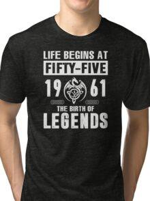 LIFE BEGINS AT 55 Tri-blend T-Shirt