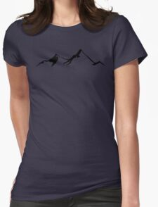Ski Skiing Mountain Mountains Skiing Skis Silhouette Snowboard Snowboarding Womens Fitted T-Shirt