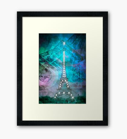 Illuminated Pop Art Eiffel Tower | Graphic Style   Framed Print