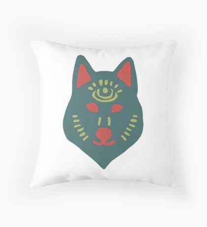 Blue Spirit Wolf—Home & Office Throw Pillow