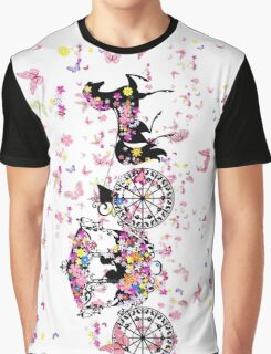 Colorful Butterflies & Floral Wedding Horse & Carriage Graphic T-Shirt