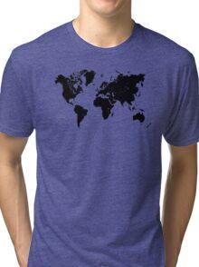 Black & White World Map Tri-blend T-Shirt