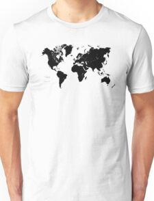 Black & White World Map Unisex T-Shirt