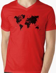 Black & White World Map Mens V-Neck T-Shirt