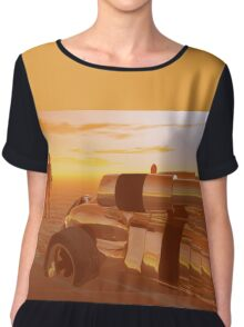 ARES CYBORG IN THE DESERT OF HYPERION,Sci Fi Chiffon Top