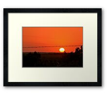 Barbed Wire at Sunset Framed Print