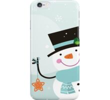 Happy winter Snowman holding christmas Star iPhone Case/Skin