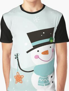 Happy winter Snowman holding christmas Star Graphic T-Shirt