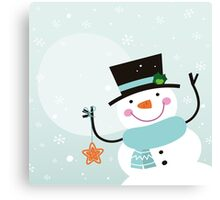 Happy winter Snowman holding christmas Star Canvas Print