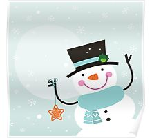 Happy winter Snowman holding christmas Star Poster