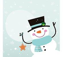 Happy winter Snowman holding christmas Star Photographic Print