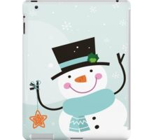 Happy winter Snowman holding christmas Star iPad Case/Skin