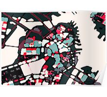 Abstract Map of Boston Harbor Poster