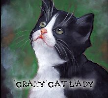 Crazy Cat Lady, Painting of Cat Looking Up by Joyce Geleynse