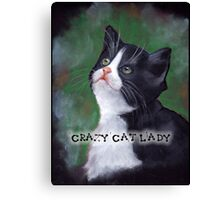 Crazy Cat Lady, Painting of Cat Looking Up Canvas Print