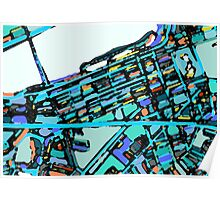 Abstract Map of Boston Back Bay Poster