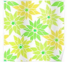 Seamless floral pattern with cute cartoon green neon flowers on light background Poster