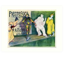 Clowns themed vintage French art gallery advertisement Art Print