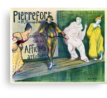 Clowns themed vintage French art gallery advertisement Canvas Print