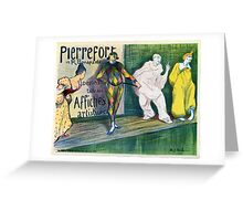 Clowns themed vintage French art gallery advertisement Greeting Card